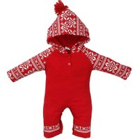 Christmas Red Hooded Baby Overall Newborn Romper Winter Warm Deer Print Toddler Jumpsuit New Year's Gift