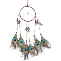 Handmade Dreamcathcer Peacock Tail Style Indian Dream Catcher Feathers Wall Hanging Decoration Ornament Gift